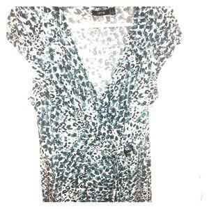 Teal animal print wrap dress